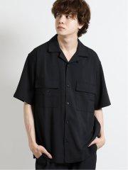 ストレッチ オープンカラーポケット付き半袖シャツ