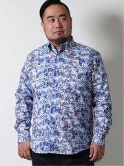 【大きいサイズ】ジーステージ/G-stage 綿プリント ボタンダウン長袖シャツ