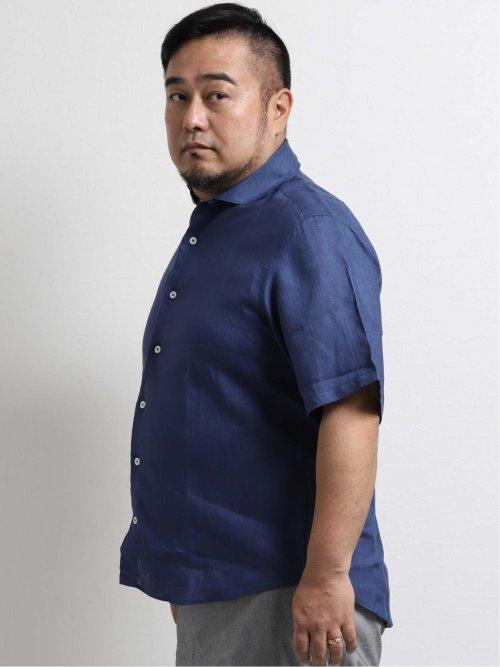 【大きいサイズ】ジーステージ/G-stage フレンチリネン無地カッタウェイ半袖シャツ