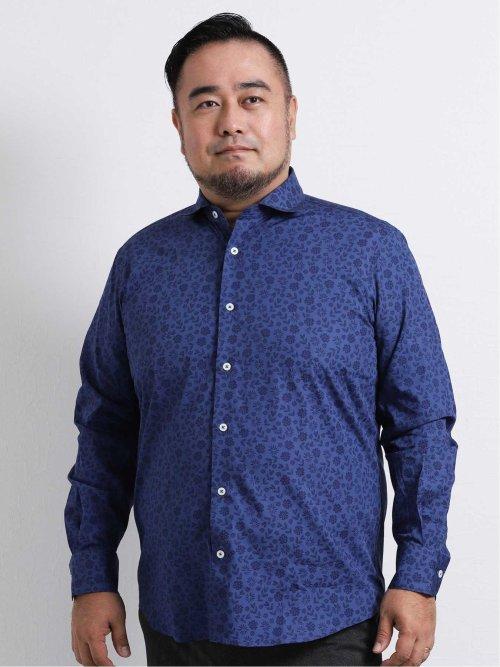 【大きいサイズ】ジーステージ/G-stage プリント柄セミワイドカラー長袖シャツ