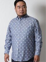 【大きいサイズ】グランバック/GRAND-BACK ダンガリー星柄ボタンダウン長袖シャツ