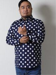 【大きいサイズ】グランバック/GRAND-BACK 水玉柄ボタンダウン長袖シャツ