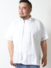 【大きいサイズ】グランバック/GRAND-BACK ストレッチサッカー ボタンダウン半袖シャツ