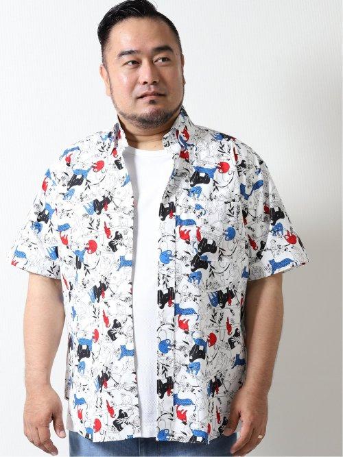 【大きいサイズ】グランバック/GRAND-BACK アニマルプリント ボタンダウン半袖シャツ