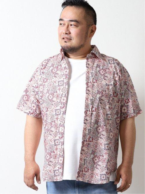 【大きいサイズ】グランバック/GRAND-BACK バンダナプリント ボタンダウン半袖シャツ