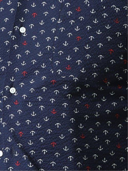【大きいサイズ】グランバック/GRAND-BACK イカリ柄 オープンカラー半袖シャツ