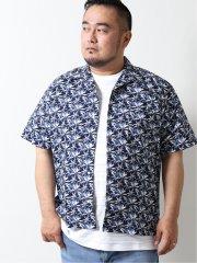 【大きいサイズ】グランバック/GRAND-BACK リーフプリント オープンカラー半袖シャツ