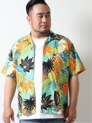 【大きいサイズ】グランバック/GRAND-BACK トロピカルプリント オープンカラー半袖シャツ