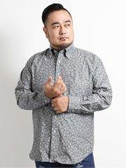 【大きいサイズ】グランバック/GRAND-BACK シャンブレー小花柄ボタンダウン長袖シャツ