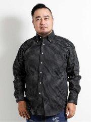 【大きいサイズ】グランバック/GRAND-BACK 小紋プリント ボタンダウン長袖シャツ