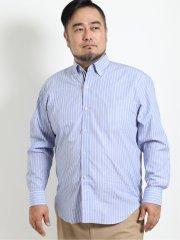 【大きいサイズ】グランバック/GRAND-BACK ストライプ柄ボタンダウン長袖シャツ