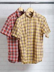 綿麻マドラスチェック カッタウェイ半袖シャツ