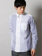 ストライプ縦切替 レギュラーカラー長袖シャツ