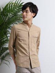綿麻ドビーバンドカラースキッパー7分袖シャツ