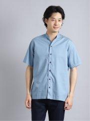 抗菌イージーケア インディゴ調バンドカラー半袖シャツ