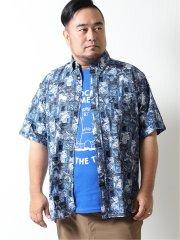 【大きいサイズ】ポロ/POLO リップルプリント ボタンダウン半袖シャツ