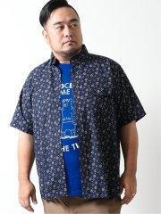 【大きいサイズ】ポロ/POLO リップル小紋プリント ボタンダウン半袖シャツ