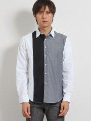オックス縦切替 レギュラーカラー長袖シャツ