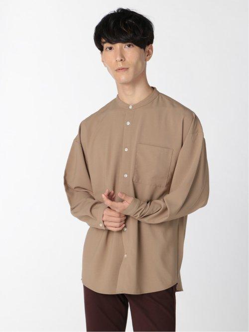 ポリトロストレッチ バンドカラー長袖シャツ