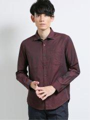 変形市松ドビー ワイドカラー長袖シャツ