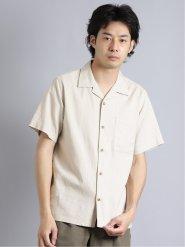 接触冷感 リネン混オープンカラー半袖シャツ