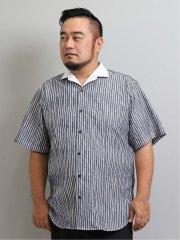 【大きいサイズ】レノマオム/renoma HOMME タックストライプ スタンド衿ワイヤー半袖シャツ