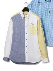 【大きいサイズ】シナコバ/SINA COVA パターン切替ボタンダウン長袖シャツ