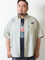 【大きいサイズ】シナコバ/SINA COVA チェック柄ボタンダウン半袖シャツ