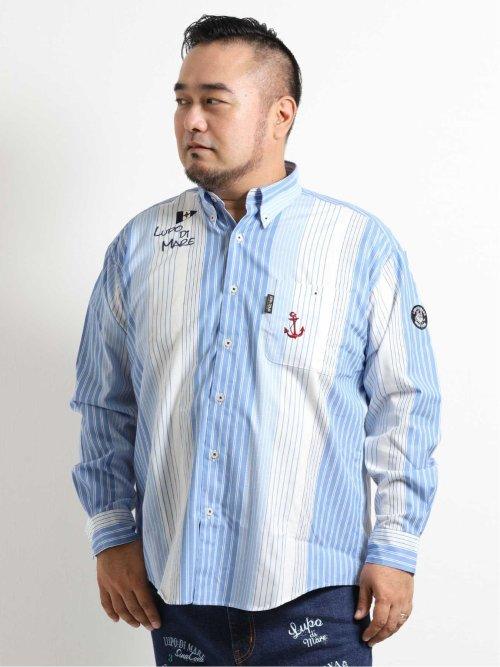 【大きいサイズ】シナコバ/SINA COVA 綿パネルストライプ柄長袖シャツ