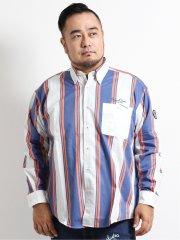 【大きいサイズ】シナコバ/SINA COVA 綿マルチストライプ柄長袖シャツ
