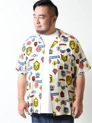 【大きいサイズ】アルファ・インダストリーズ/Alpha Industries 総柄オープンカラー半袖シャツ