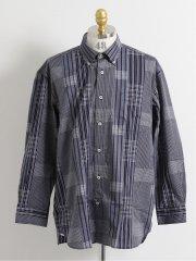 【大きいサイズ】グランバック/GRAND-BACK カットドビー チェック柄ボタンダウン長袖シャツ