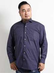 【大きいサイズ】グランバック/GRAND-BACK タイプライター 小紋柄カッタウェイ長袖シャツ