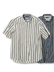 【大きいサイズ】グランバック/GRAND-BACK ドビーストライプ ボタンダウン半袖シャツ