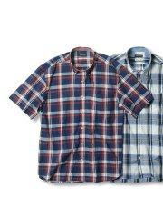 【大きいサイズ】グランバック/GRAND-BACK ドビーチェック ボタンダウン半袖シャツ