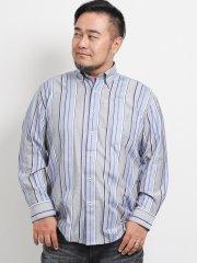 【大きいサイズ】グランバック/GRAND-BACK ストライプ カッタウェイ長袖シャツ