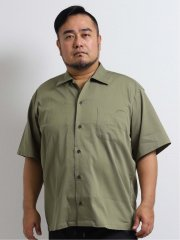 【大きいサイズ】グランバック/GRAND-BACK パナマ無地オープンカラー半袖シャツ