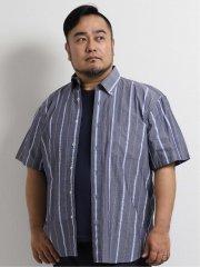 【大きいサイズ】グランバック/GRAND-BACK サッカーストライプ ボタンダウン半袖シャツ