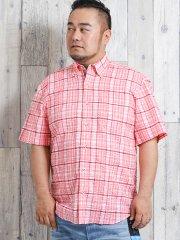 【大きいサイズ】グランバック/GRAND-BACK リップル手書き風チェックプリント ボタンダウン半袖シャツ