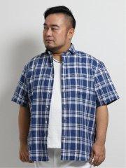 【大きいサイズ】グランバック/GRAND-BACK リネンチェック カッタウェイ半袖シャツ