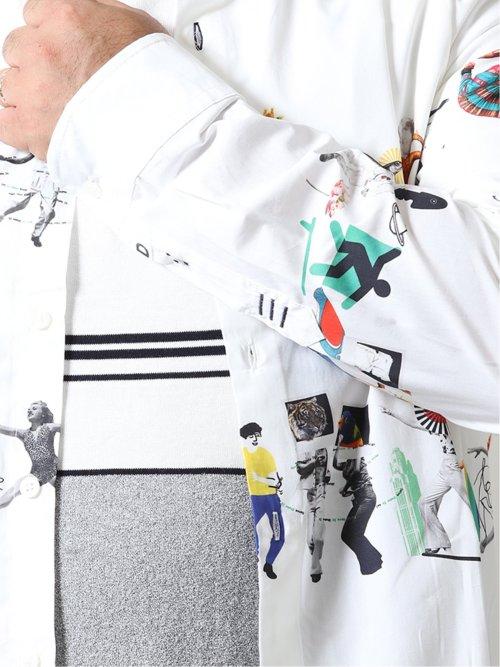 【大きいサイズ】デシグアル/Desigual エスニックボーダー カッタウェイ長袖シャツ