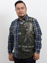 【大きいサイズ】デシグアル/Desigual 前身クレイジー切替長袖シャツ