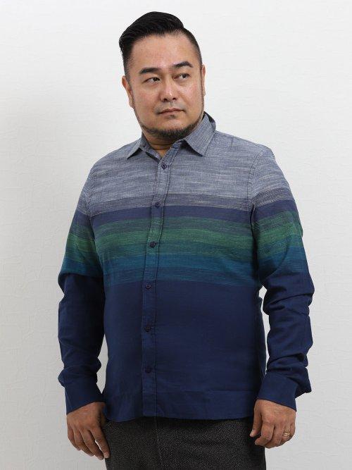 【大きいサイズ】デシグアル/Desigual グラデーションボーダー長袖シャツ