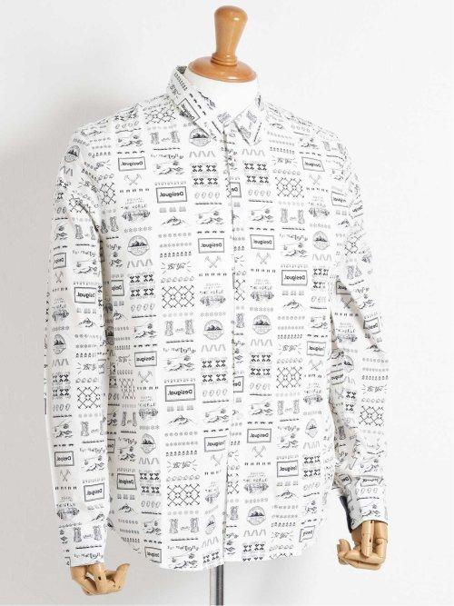 【大きいサイズ】デシグアル/Desigual コットン 総柄カッタウェイ長袖シャツ
