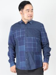 【大きいサイズ】デシグアル/Desigual インディゴ クレイジーチェック 長袖シャツ