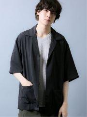 オーバーサイズ 5分袖シャツジャケット