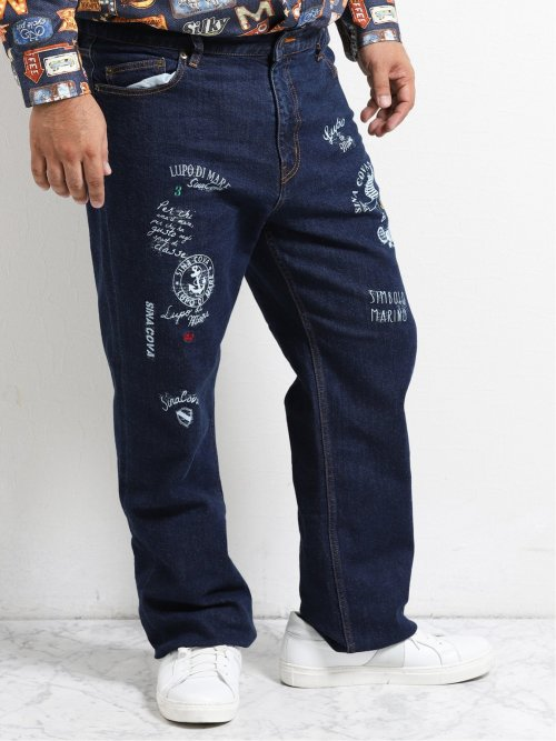 【大きいサイズ】シナコバ/SINA COVA ストレッチ ロゴ入りストレートジーンズ