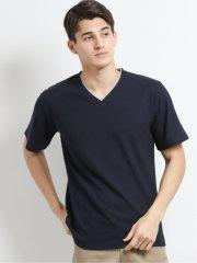 リンクスジャガード市松柄Vネック半袖Tシャツ