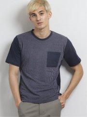 前身カットサッカーポケ付クルーネック半袖Tシャツ
