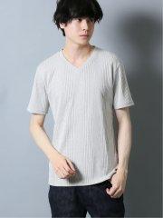 針抜きテレコ Vネック半袖Tシャツ
